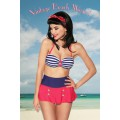 DESIGN BY ATIXO Vintage-Bandeau-Bikini (blue / red / white)