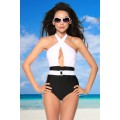 DESIGN BY ATIXO Vintage-Monokini gepaddet (black-and-white)
