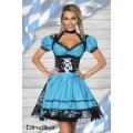 DIRNDLINE Premium Bluse &  Dirndl aus edlem Jacquard (black / blue)