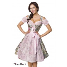 DIRNDLINE Premium Brokat-Dirndl inkl. Bluse (pink / patterned)