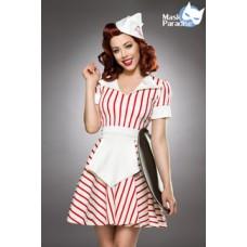 MASK PARADISE Retro Kellnerin: Diner Waitress (White-red)