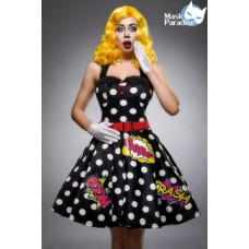 MASK PARADISE Pop Art Kostüm: Pop Art Girl (black White Red)