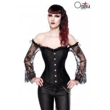 OCULTICA Gothic-Corsage mit Ärmeln aus Spitze (black)