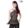 OCULTICA Gothic-Top mit Schößchen aus Spitze (black)