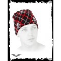 Queen of Darkness Black & red plaid beanie with skulls
