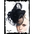 Queen of Darkness Black Hat with Feathers and Veil