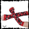 Queen of Darkness Arm warmers - red / black plaid, skull &