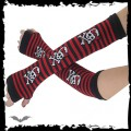 Queen of Darkness Arm warmers - black/red stripes, girly s