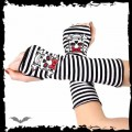 Queen of Darkness Arm warmers. Black/white striped. Girly