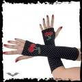 Queen of Darkness Arm warmers. White dots, cherries.