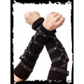 Queen of Darkness Black Arm Warmers with Rings and Studs