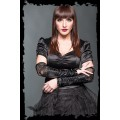 Queen of Darkness Black gloves with lace and decorative ri