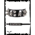 Queen of Darkness Thin bracelet with mini skulls & spikes
