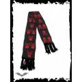 Queen of Darkness Black scarf with red skulls & X-bones