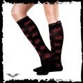 Queen of Darkness Sheer black socks with red skulls