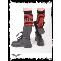 Queen of Darkness Red/black striped legwarmer with cross