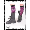 Queen of Darkness Striped legwarmers with cat skull