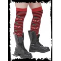 Queen of Darkness Red/black striped knee socks with cherry