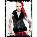 Queen of Darkness Leather Vest with Furry Collar
