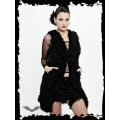 Queen of Darkness Long fuzzy black sleeveless jacket