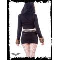 Queen of Darkness Bolero Jacket with Leopard Fur lined Hoo