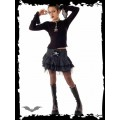 Queen of Darkness Miniskirt with white dots and skull