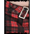Queen of Darkness Red / black plaid miniskirt with belt