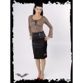 Queen of Darkness Black satin mid length skirt with heart