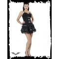 Queen of Darkness Ruffled skirt with leather look fabric