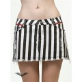 Queen of Darkness Black & White Striped Mini Skirt