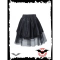 Queen of Darkness Fringed satin mini skirt