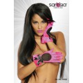 SARESIA Satin-Handschuhe (pink / schwarz)