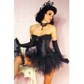 VARIOUS Burlesque Corsage aus Satin (black)