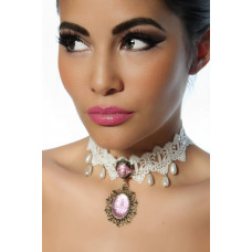 VARIOUS Burlesque-Collier (white / pink)