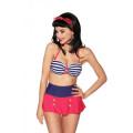 VARIOUS Vintage-Bandeau-Bikini (blue / red / white)