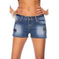 VARIOUS Jeans-Shorts mit Paillettenapplikation (blau)