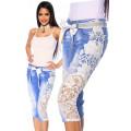 VARIOUS Capri-Jeans mit Spitze (blau / creme)