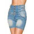 VARIOUS Jeans-Shorts mit hochgeschnittenem Bund (blau)