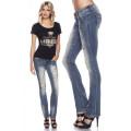 VARIOUS Jeans mit Strasssteinen (blau)