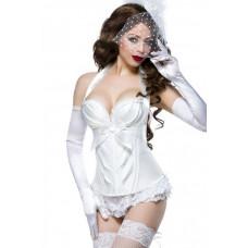 VARIOUS Burlesque-Satin-Corsage (White)