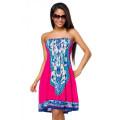 VARIOUS Sommerkleid (pink / gemusert)